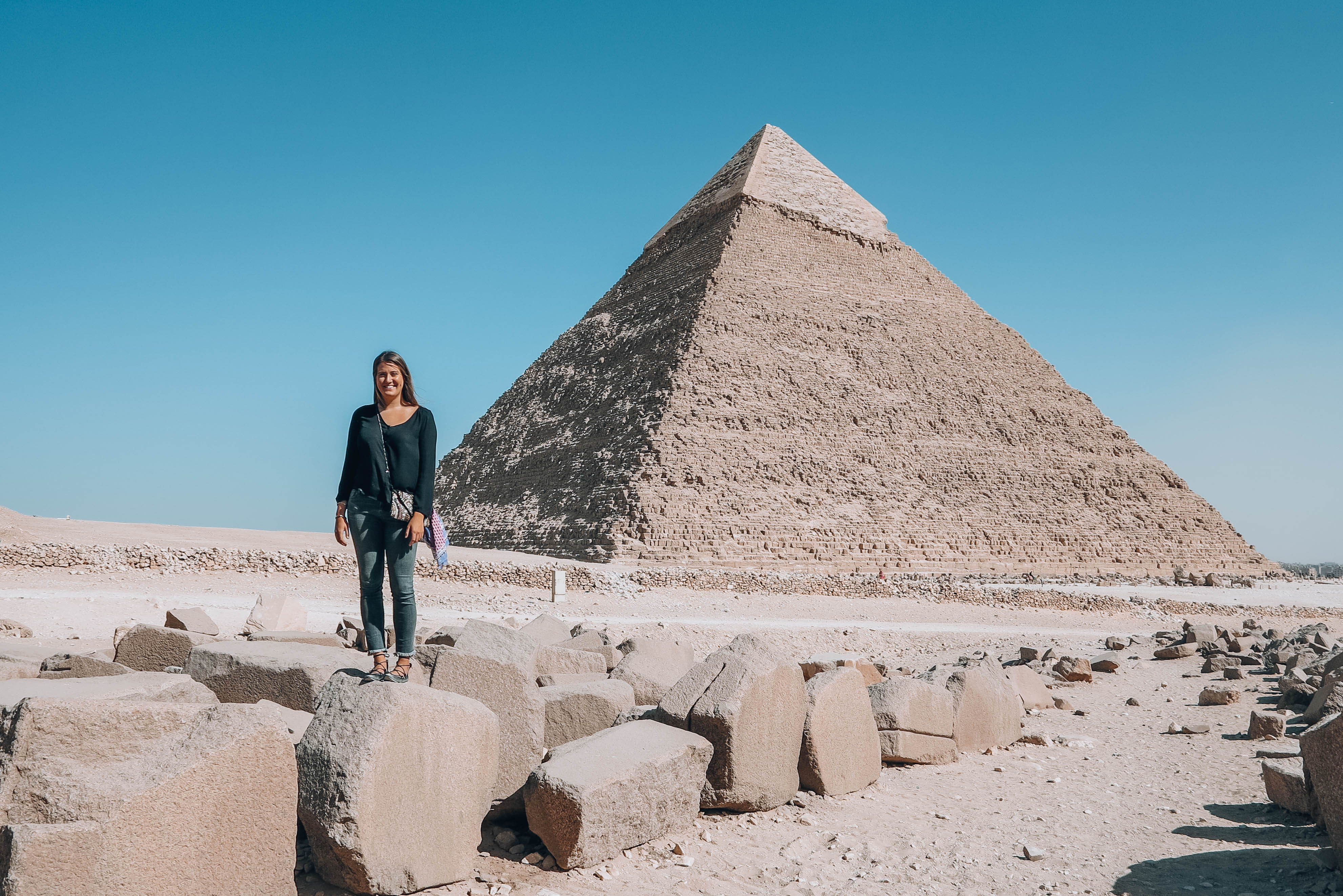 In front of pyramids